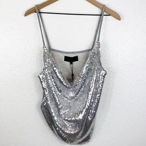 Kendall + Kylie Sequin Cowl Neck Tank